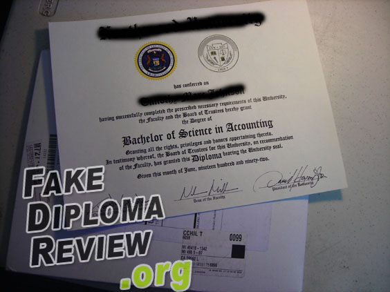 Fake diploma from NextDayDiplomas.com!
