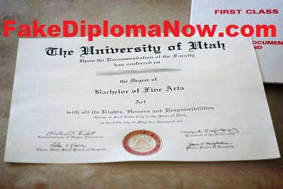 same of university of utah diploma stolen by fakediplomanow.com